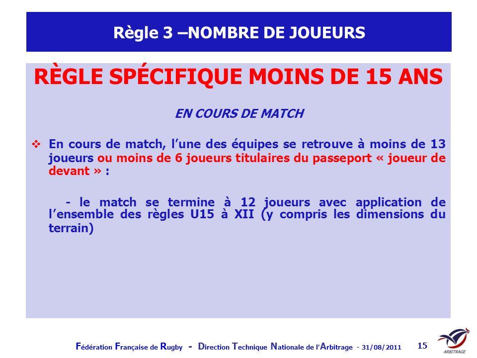 F édération F rançaise de R ugby - D irection T echnique N ationale de l' A rbitrage - 31/08/2011 15 Règle 3 –NOMBRE DE JOUEURS RÈGLE SPÉCIFIQUE MOINS