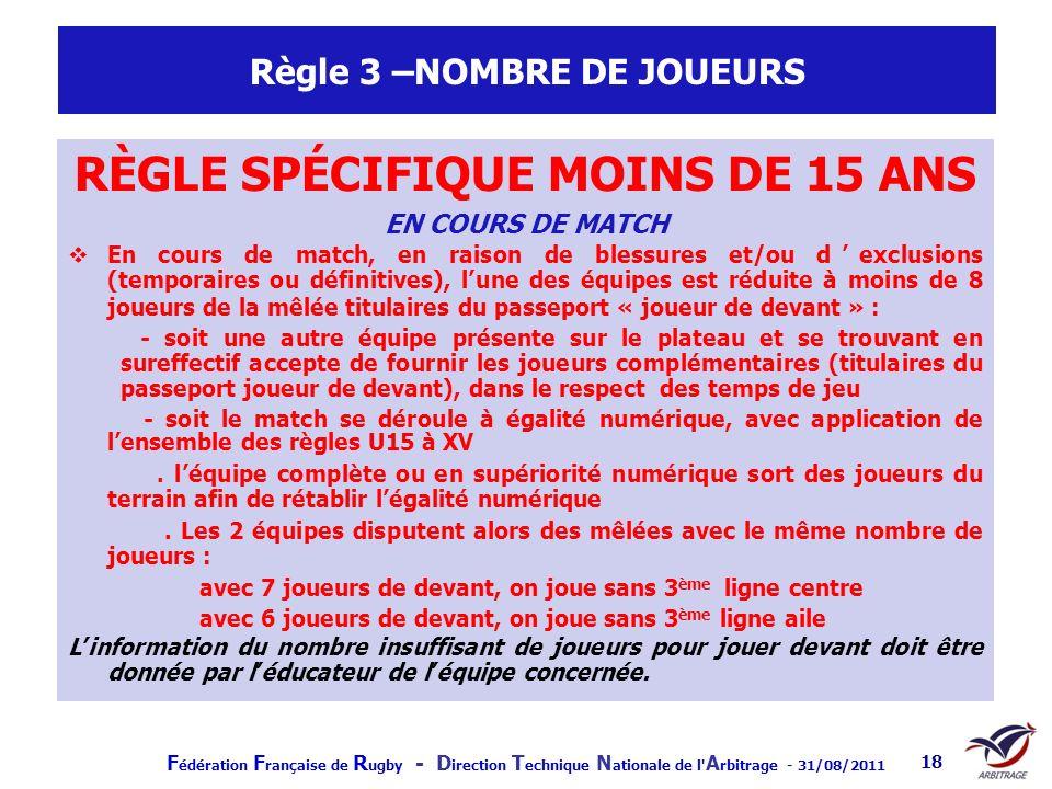 F édération F rançaise de R ugby - D irection T echnique N ationale de l' A rbitrage - 31/08/2011 18 Règle 3 –NOMBRE DE JOUEURS RÈGLE SPÉCIFIQUE MOINS
