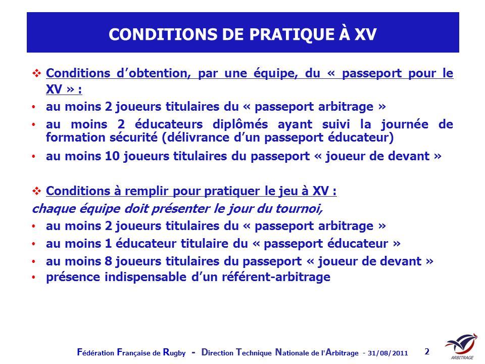 F édération F rançaise de R ugby - D irection T echnique N ationale de l' A rbitrage - 31/08/2011 2 CONDITIONS DE PRATIQUE À XV Conditions dobtention,