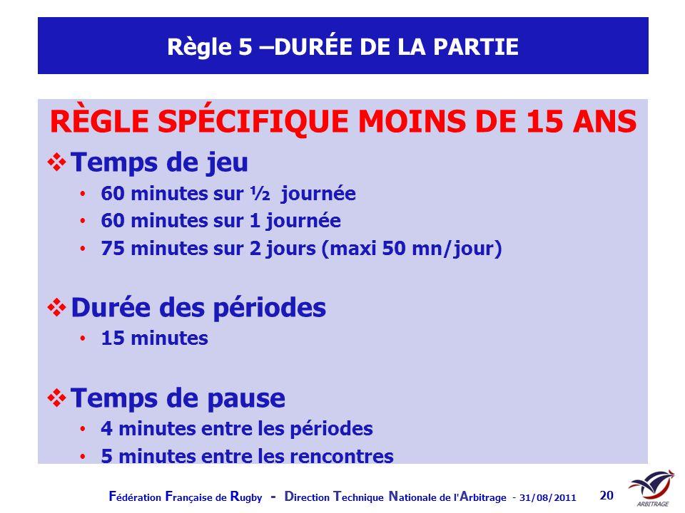 F édération F rançaise de R ugby - D irection T echnique N ationale de l' A rbitrage - 31/08/2011 20 Règle 5 –DURÉE DE LA PARTIE RÈGLE SPÉCIFIQUE MOIN