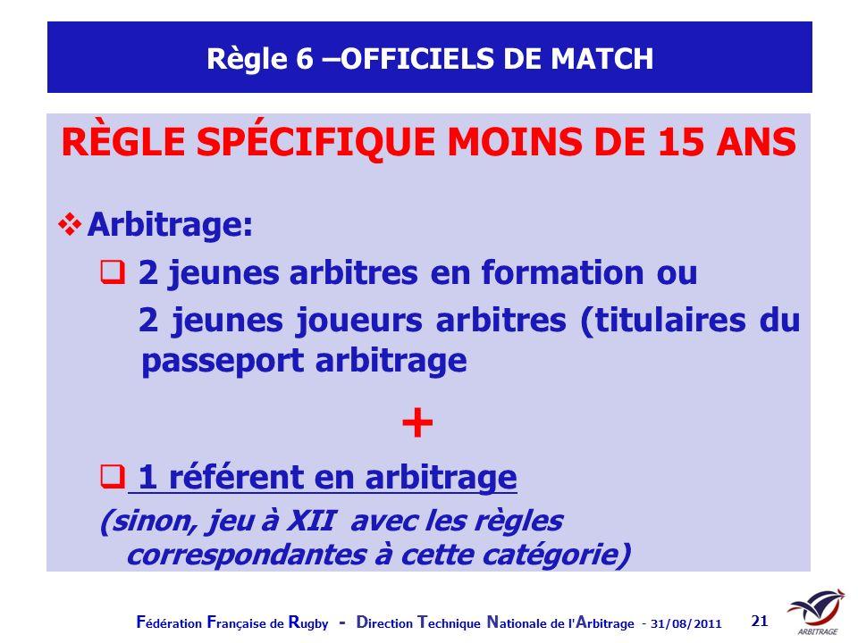 F édération F rançaise de R ugby - D irection T echnique N ationale de l' A rbitrage - 31/08/2011 21 Règle 6 –OFFICIELS DE MATCH RÈGLE SPÉCIFIQUE MOIN