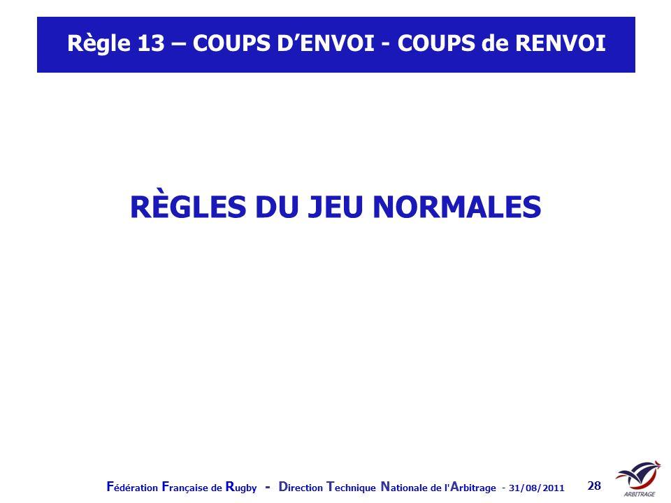 F édération F rançaise de R ugby - D irection T echnique N ationale de l' A rbitrage - 31/08/2011 28 Règle 13 – COUPS DENVOI - COUPS de RENVOI RÈGLES