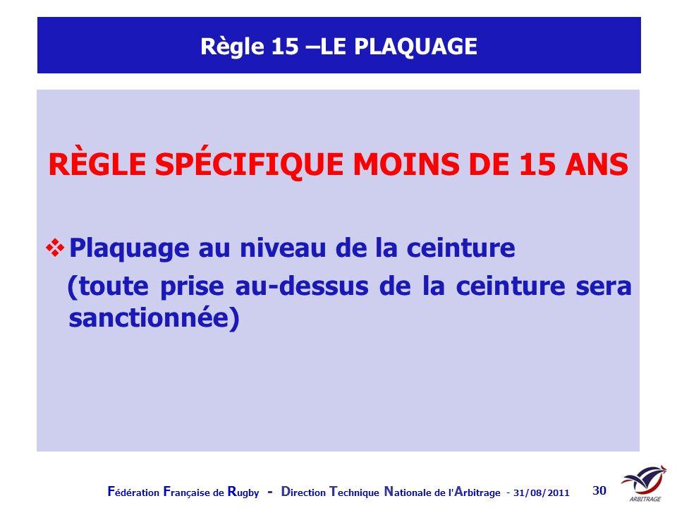 F édération F rançaise de R ugby - D irection T echnique N ationale de l' A rbitrage - 31/08/2011 30 Règle 15 –LE PLAQUAGE RÈGLE SPÉCIFIQUE MOINS DE 1