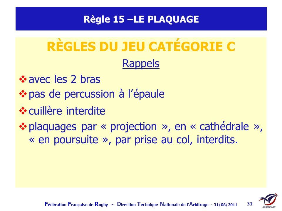 F édération F rançaise de R ugby - D irection T echnique N ationale de l' A rbitrage - 31/08/2011 31 Règle 15 –LE PLAQUAGE RÈGLES DU JEU CATÉGORIE C R