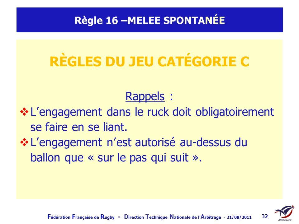 F édération F rançaise de R ugby - D irection T echnique N ationale de l' A rbitrage - 31/08/2011 32 Règle 16 –MELEE SPONTANÉE RÈGLES DU JEU CATÉGORIE