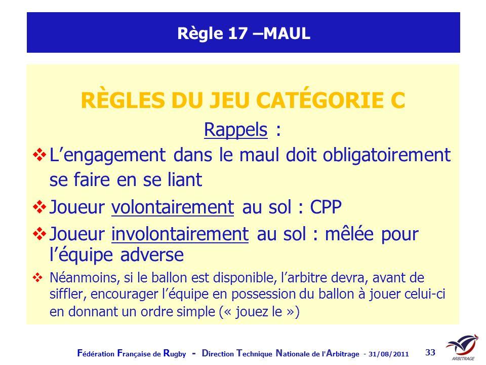 F édération F rançaise de R ugby - D irection T echnique N ationale de l' A rbitrage - 31/08/2011 33 Règle 17 –MAUL RÈGLES DU JEU CATÉGORIE C Rappels
