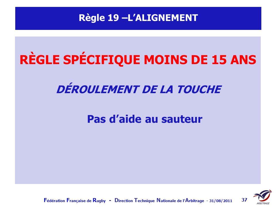 F édération F rançaise de R ugby - D irection T echnique N ationale de l' A rbitrage - 31/08/2011 37 Règle 19 –LALIGNEMENT RÈGLE SPÉCIFIQUE MOINS DE 1