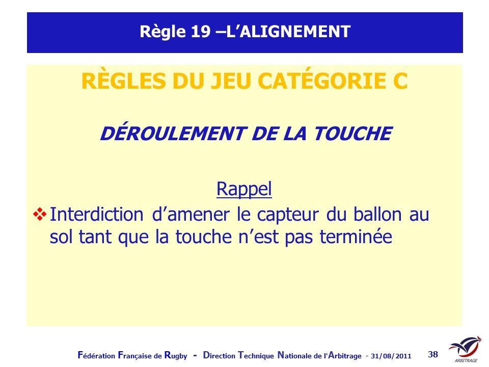 F édération F rançaise de R ugby - D irection T echnique N ationale de l' A rbitrage - 31/08/2011 38 Règle 19 –LALIGNEMENT RÈGLES DU JEU CATÉGORIE C D