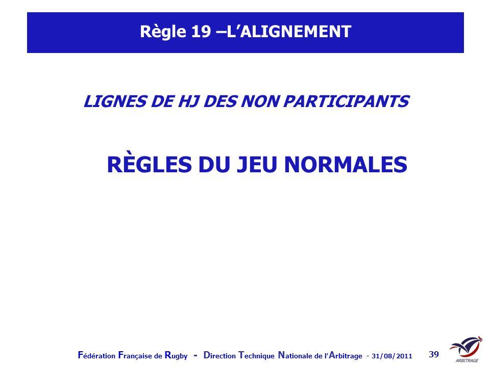 F édération F rançaise de R ugby - D irection T echnique N ationale de l' A rbitrage - 31/08/2011 39 Règle 19 –LALIGNEMENT LIGNES DE HJ DES NON PARTIC