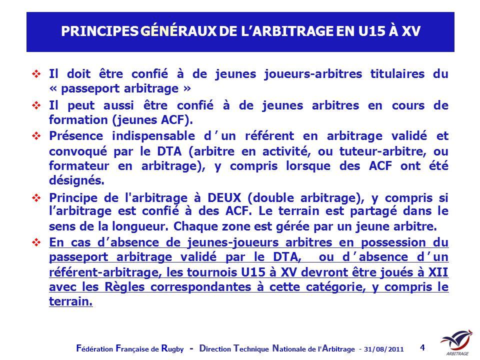 F édération F rançaise de R ugby - D irection T echnique N ationale de l' A rbitrage - 31/08/2011 4 PRINCIPES GÉNÉRAUX DE LARBITRAGE EN U15 À XV Il do