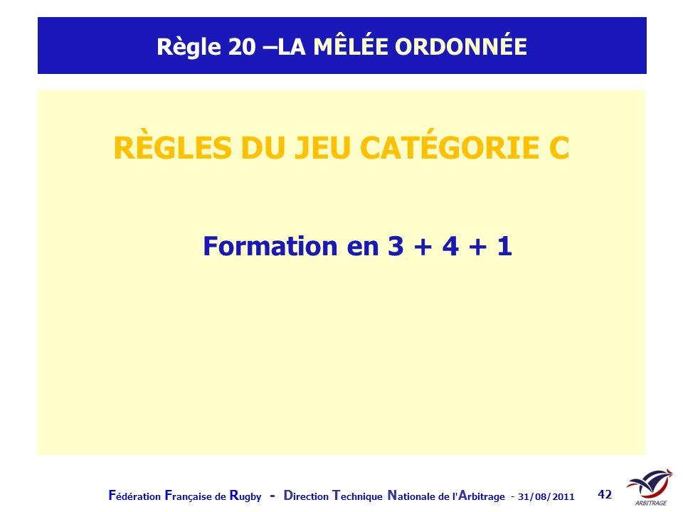 F édération F rançaise de R ugby - D irection T echnique N ationale de l' A rbitrage - 31/08/2011 42 Règle 20 –LA MÊLÉE ORDONNÉE RÈGLES DU JEU CATÉGOR