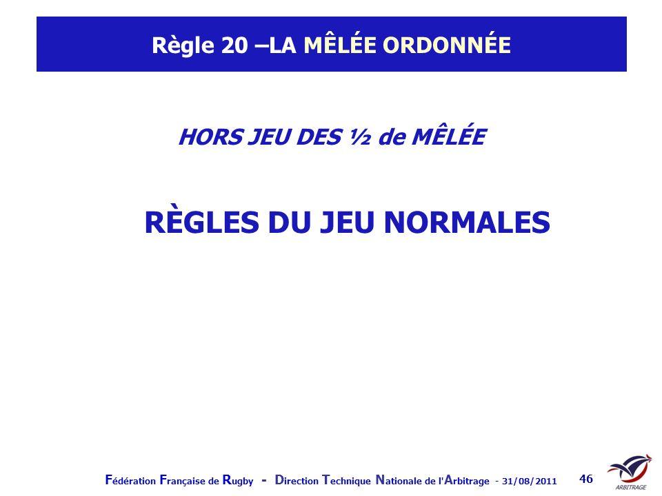 F édération F rançaise de R ugby - D irection T echnique N ationale de l' A rbitrage - 31/08/2011 46 Règle 20 –LA MÊLÉE ORDONNÉE HORS JEU DES ½ de MÊL