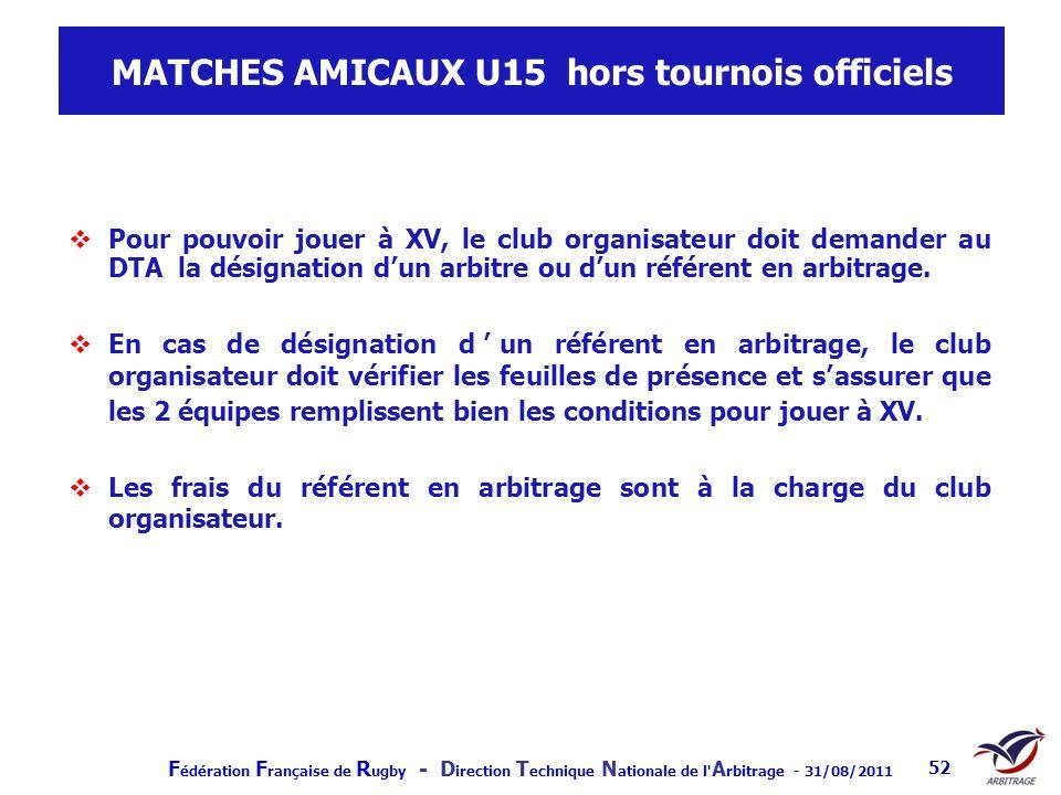 F édération F rançaise de R ugby - D irection T echnique N ationale de l' A rbitrage - 31/08/2011 52 MATCHES AMICAUX U15 hors tournois officiels Pour