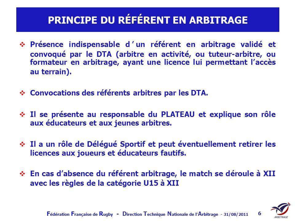 F édération F rançaise de R ugby - D irection T echnique N ationale de l' A rbitrage - 31/08/2011 6 PRINCIPE DU RÉFÉRENT EN ARBITRAGE Présence indispe