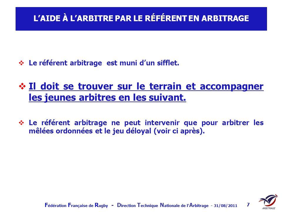 F édération F rançaise de R ugby - D irection T echnique N ationale de l' A rbitrage - 31/08/2011 7 LAIDE À LARBITRE PAR LE RÉFÉRENT EN ARBITRAGE Le r