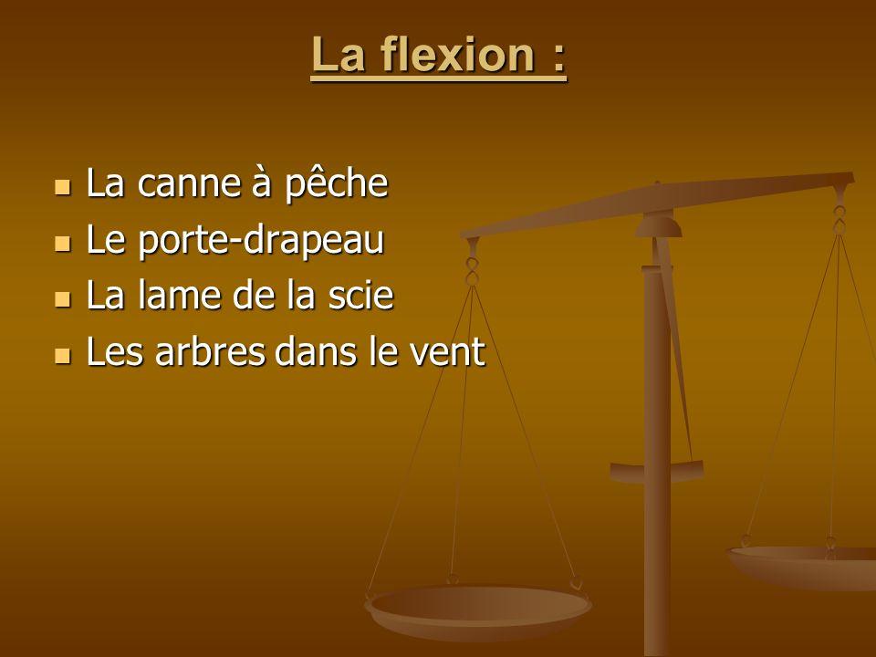 La flexion : La canne à pêche La canne à pêche Le porte-drapeau Le porte-drapeau La lame de la scie La lame de la scie Les arbres dans le vent Les arb