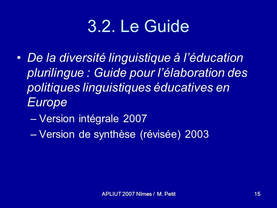 APLIUT 2007 Nîmes / M. Petit15 3.2.