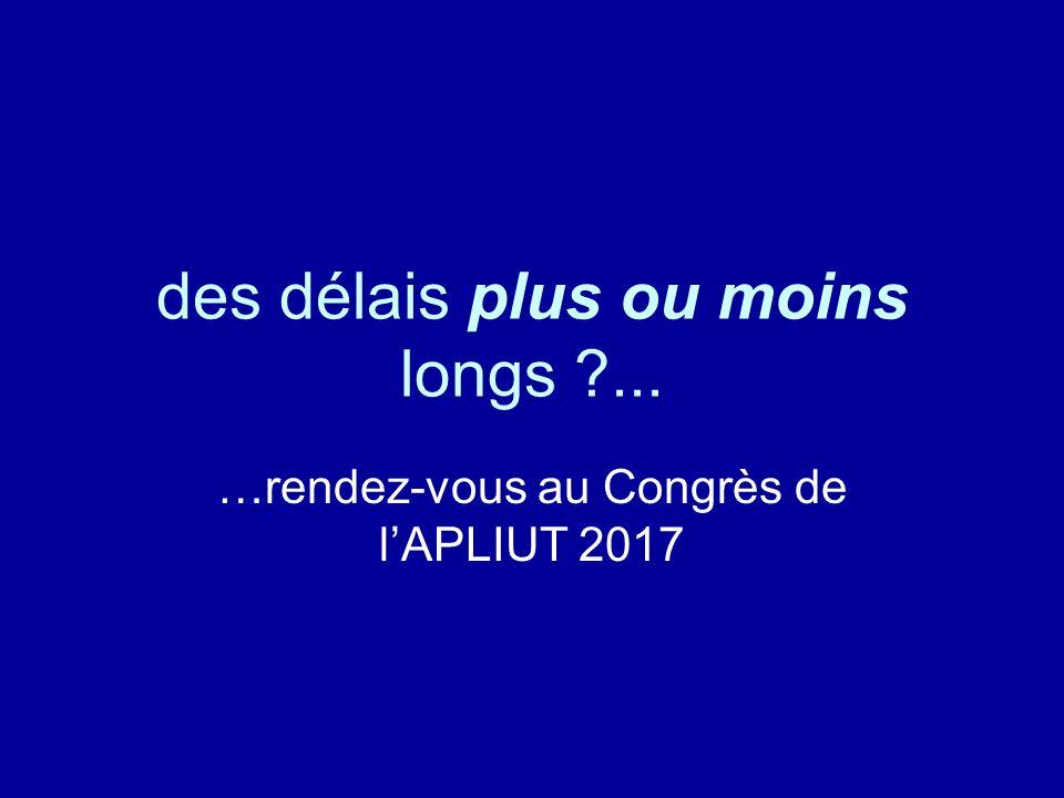 des délais plus ou moins longs ... …rendez-vous au Congrès de lAPLIUT 2017