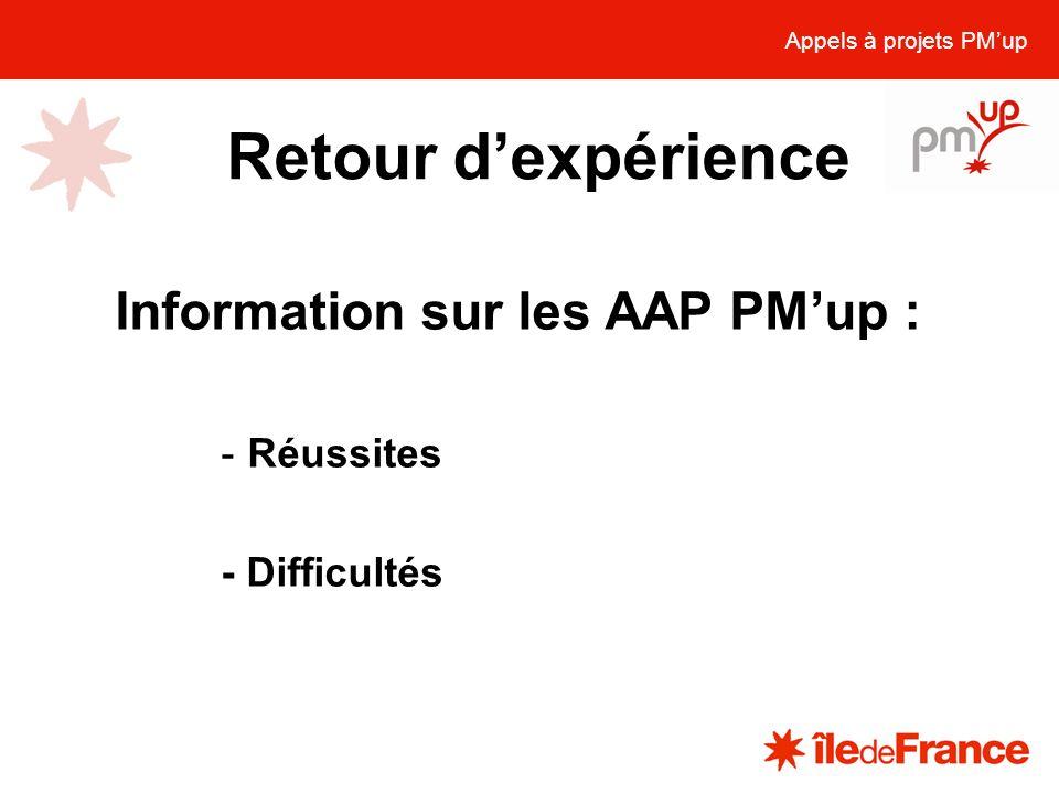 Retour dexpérience Appels à projets PMup Information sur les AAP PMup : -Réussites - Difficultés