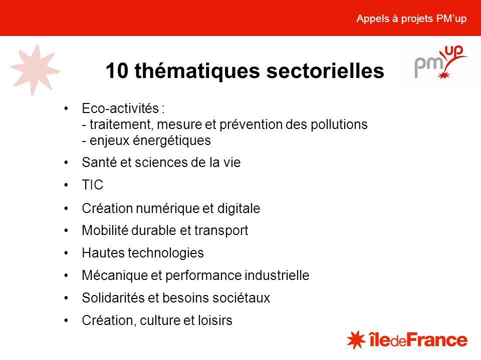 10 thématiques sectorielles Appels à projets PMup Eco-activités : - traitement, mesure et prévention des pollutions - enjeux énergétiques Santé et sci