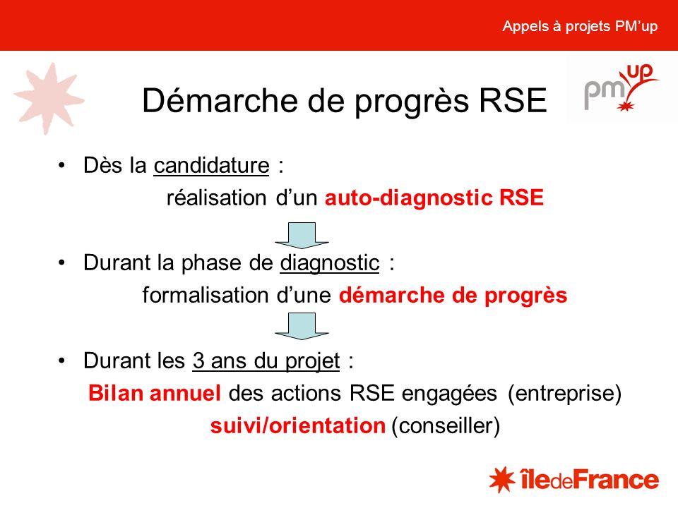 Dès la candidature : réalisation dun auto-diagnostic RSE Durant la phase de diagnostic : formalisation dune démarche de progrès Durant les 3 ans du pr