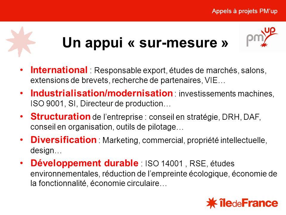 Un appui « sur-mesure » Appels à projets PMup International : Responsable export, études de marchés, salons, extensions de brevets, recherche de parte
