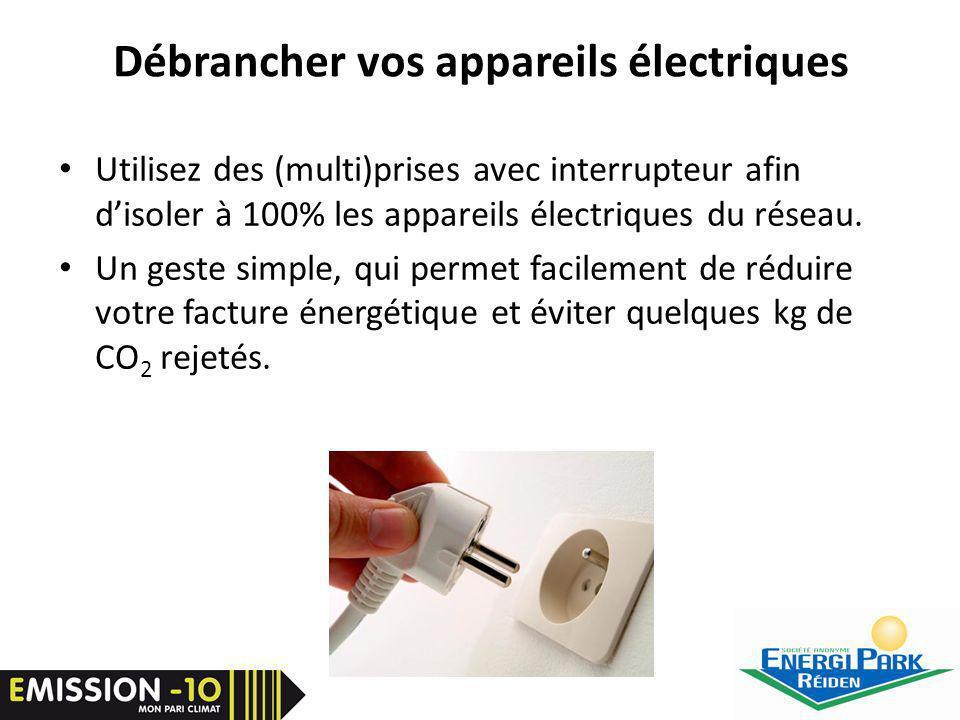 Débrancher vos appareils électriques Utilisez des (multi)prises avec interrupteur afin disoler à 100% les appareils électriques du réseau.