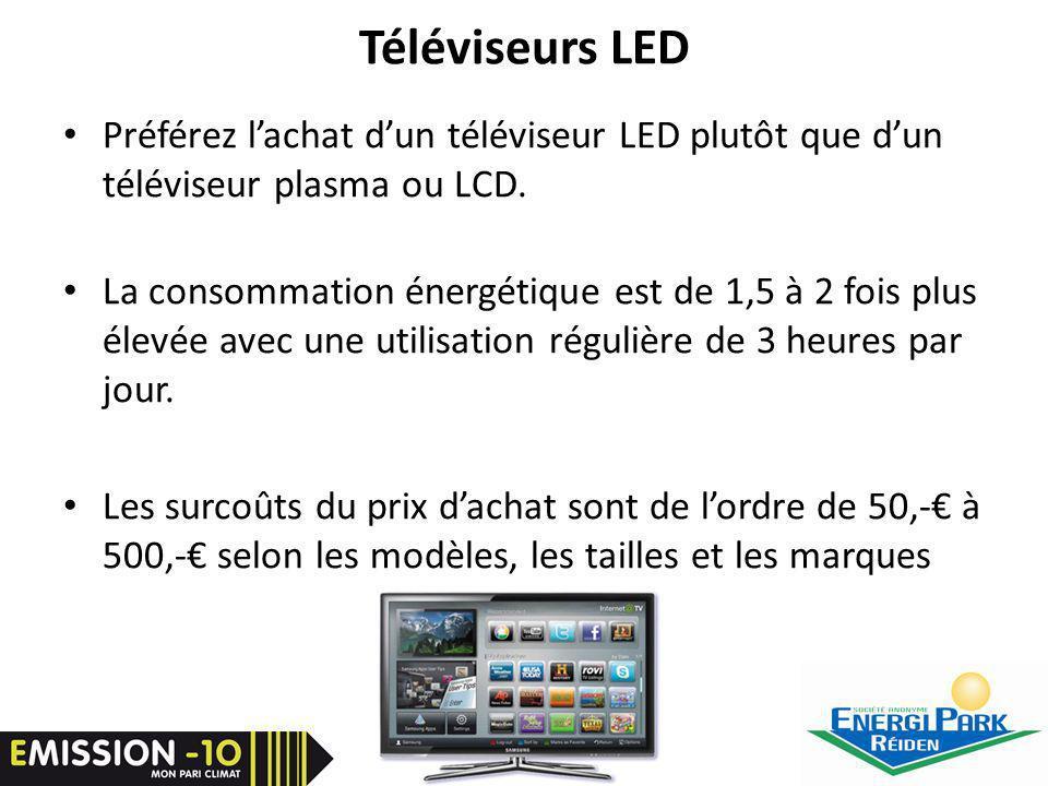 Téléviseurs LED Préférez lachat dun téléviseur LED plutôt que dun téléviseur plasma ou LCD.