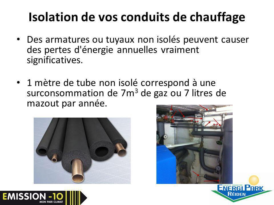 Isolation de vos conduits de chauffage Des armatures ou tuyaux non isolés peuvent causer des pertes d énergie annuelles vraiment significatives.