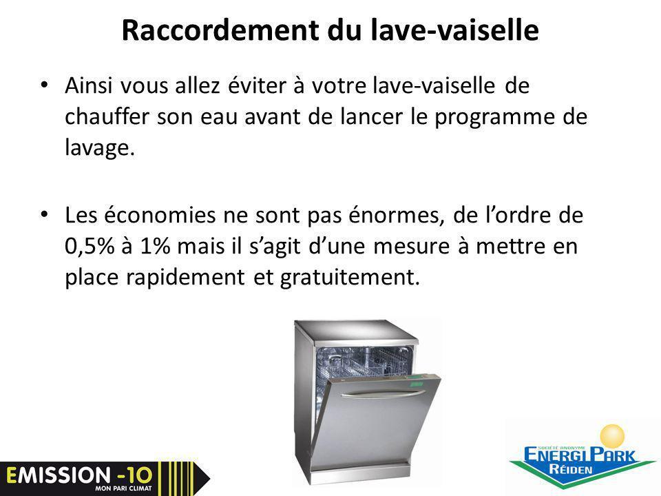 Raccordement du lave-vaiselle Ainsi vous allez éviter à votre lave-vaiselle de chauffer son eau avant de lancer le programme de lavage.