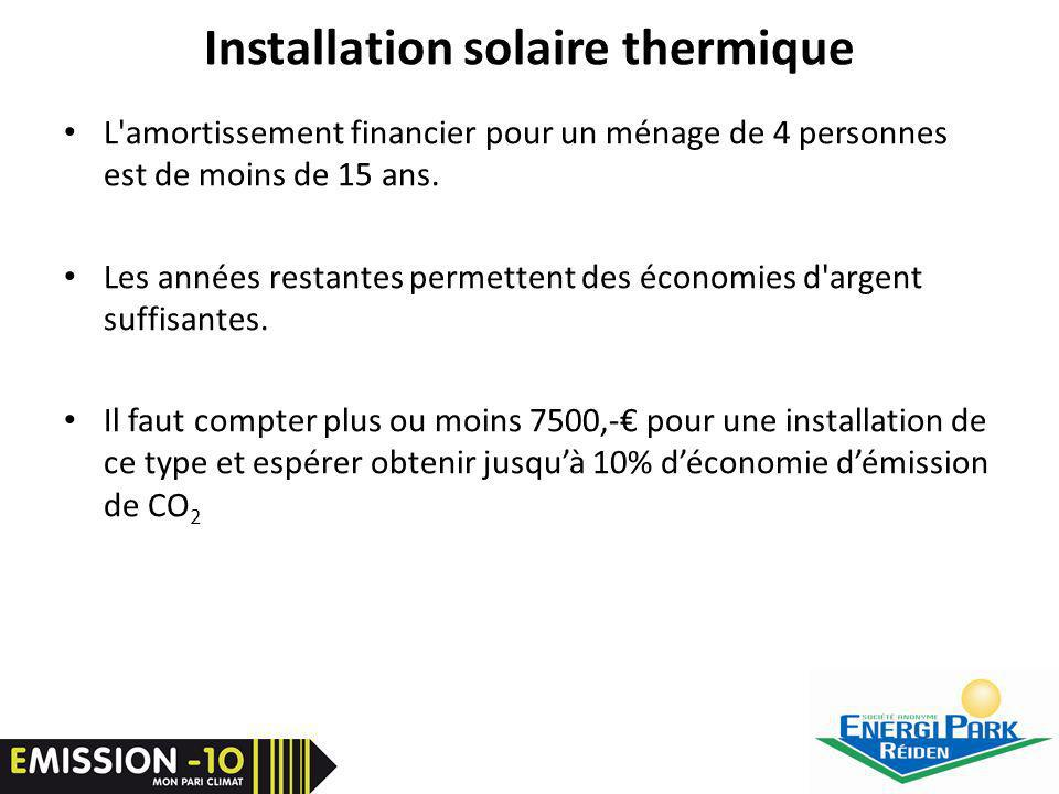 Installation solaire thermique L amortissement financier pour un ménage de 4 personnes est de moins de 15 ans.