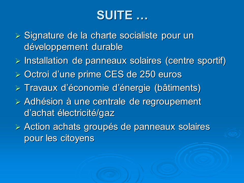 SUITE … Signature de la charte socialiste pour un développement durable Signature de la charte socialiste pour un développement durable Installation d
