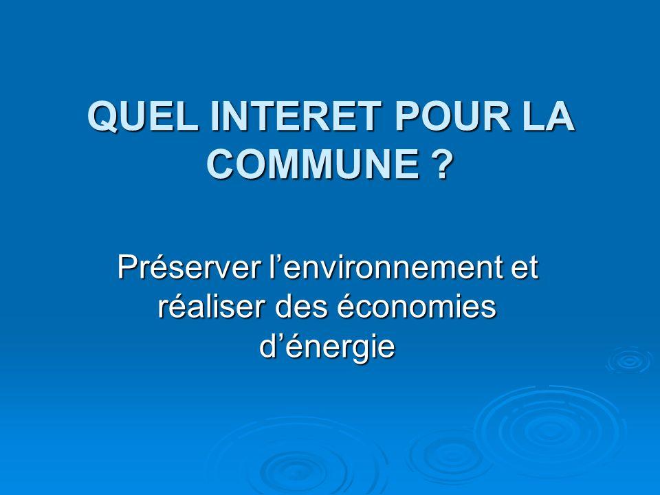 QUEL INTERET POUR LA COMMUNE Préserver lenvironnement et réaliser des économies dénergie