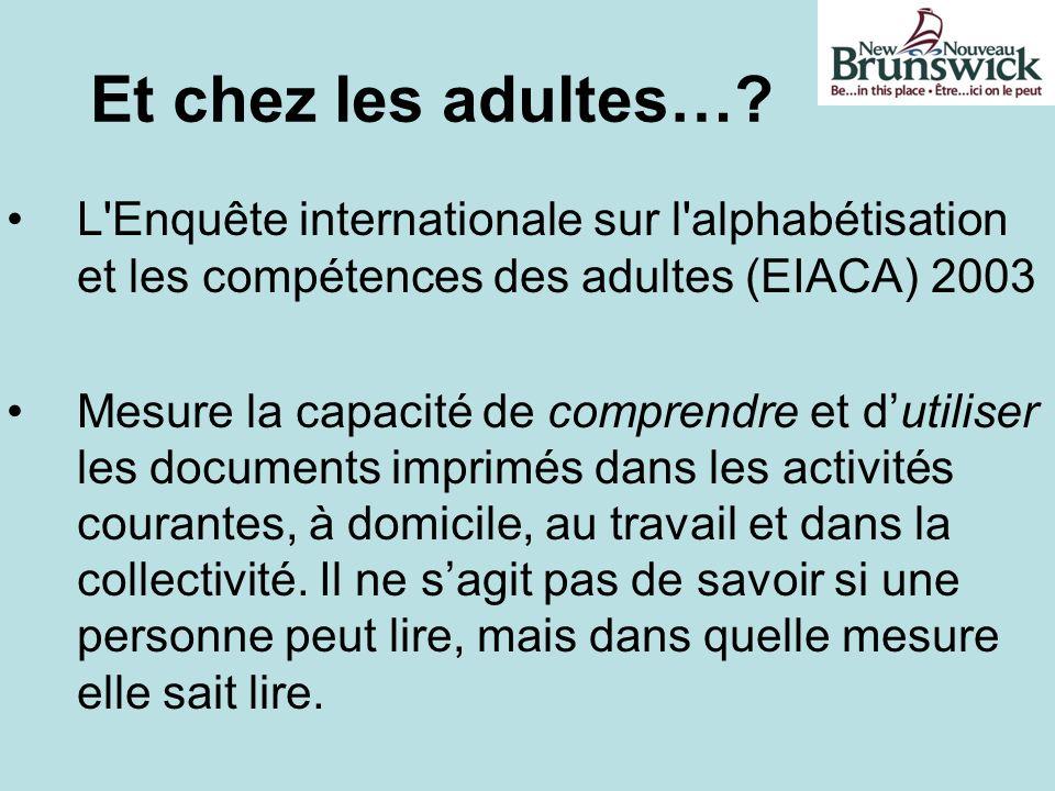 Et chez les adultes…? L'Enquête internationale sur l'alphabétisation et les compétences des adultes (EIACA) 2003 Mesure la capacité de comprendre et d