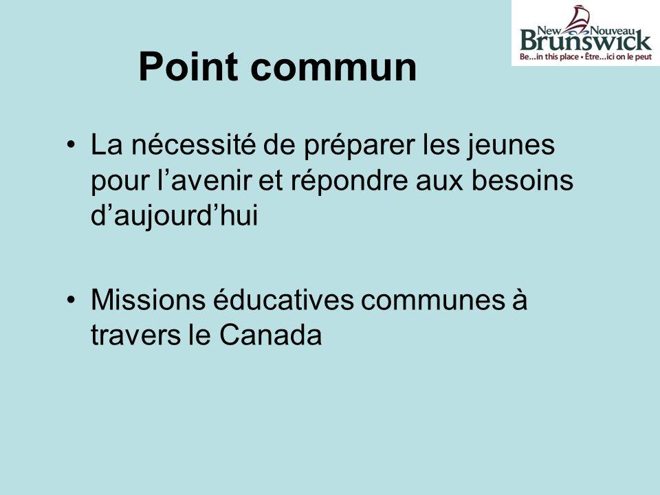 Point commun La nécessité de préparer les jeunes pour lavenir et répondre aux besoins daujourdhui Missions éducatives communes à travers le Canada