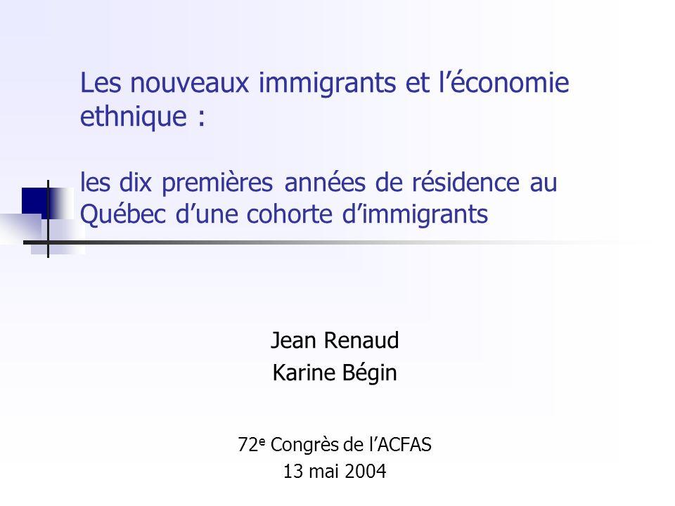 Les nouveaux immigrants et léconomie ethnique : les dix premières années de résidence au Québec dune cohorte dimmigrants Jean Renaud Karine Bégin 72 e Congrès de lACFAS 13 mai 2004