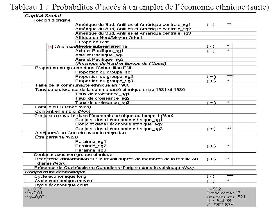 Tableau 1 : Probabilités daccès à un emploi de léconomie ethnique (suite)