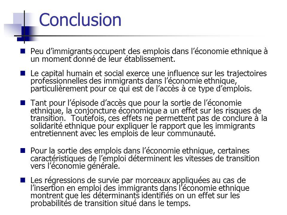 Peu dimmigrants occupent des emplois dans léconomie ethnique à un moment donné de leur établissement. Le capital humain et social exerce une influence