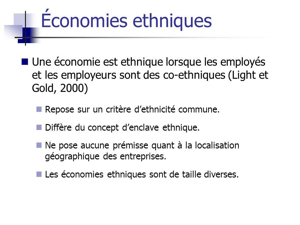 Une économie est ethnique lorsque les employés et les employeurs sont des co-ethniques (Light et Gold, 2000) Repose sur un critère dethnicité commune.