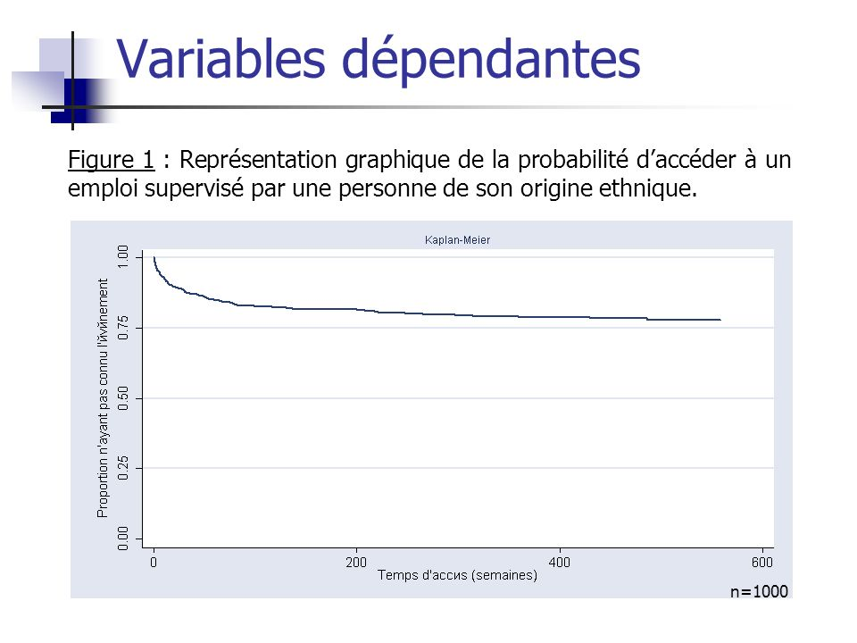 Figure 1 : Représentation graphique de la probabilité daccéder à un emploi supervisé par une personne de son origine ethnique. n=1000 Variables dépend
