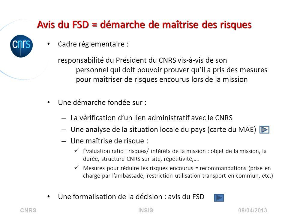 CNRS INSIS 08/04/2013 Avis du FSD = démarche de maîtrise des risques Cadre réglementaire : responsabilité du Président du CNRS vis-à-vis de son person