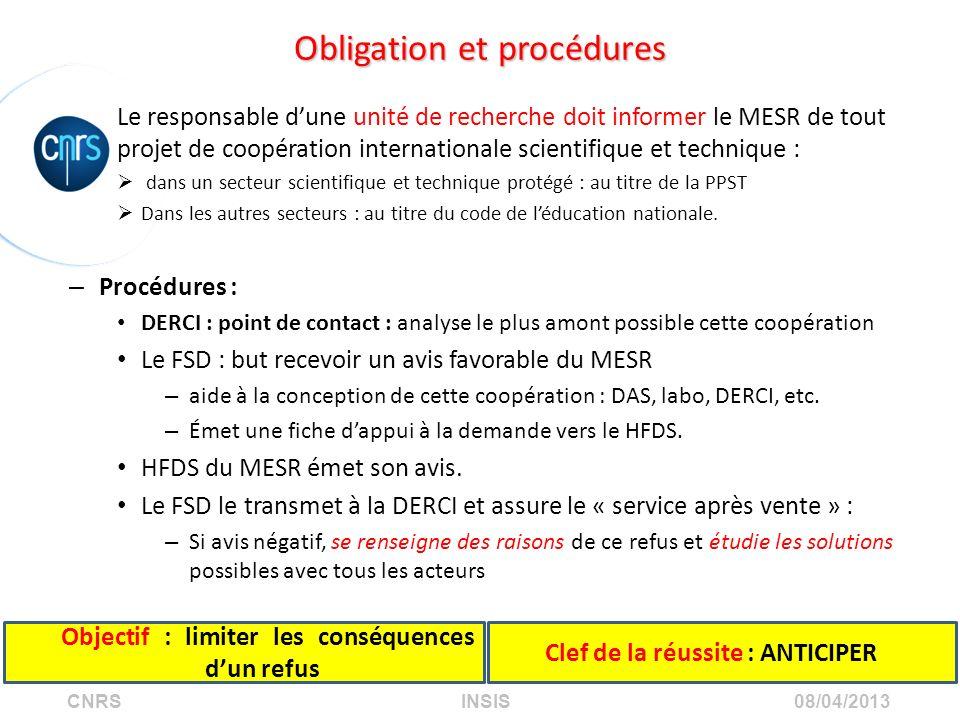 CNRS INSIS 08/04/2013 Obligation et procédures Le responsable dune unité de recherche doit informer le MESR de tout projet de coopération internationa