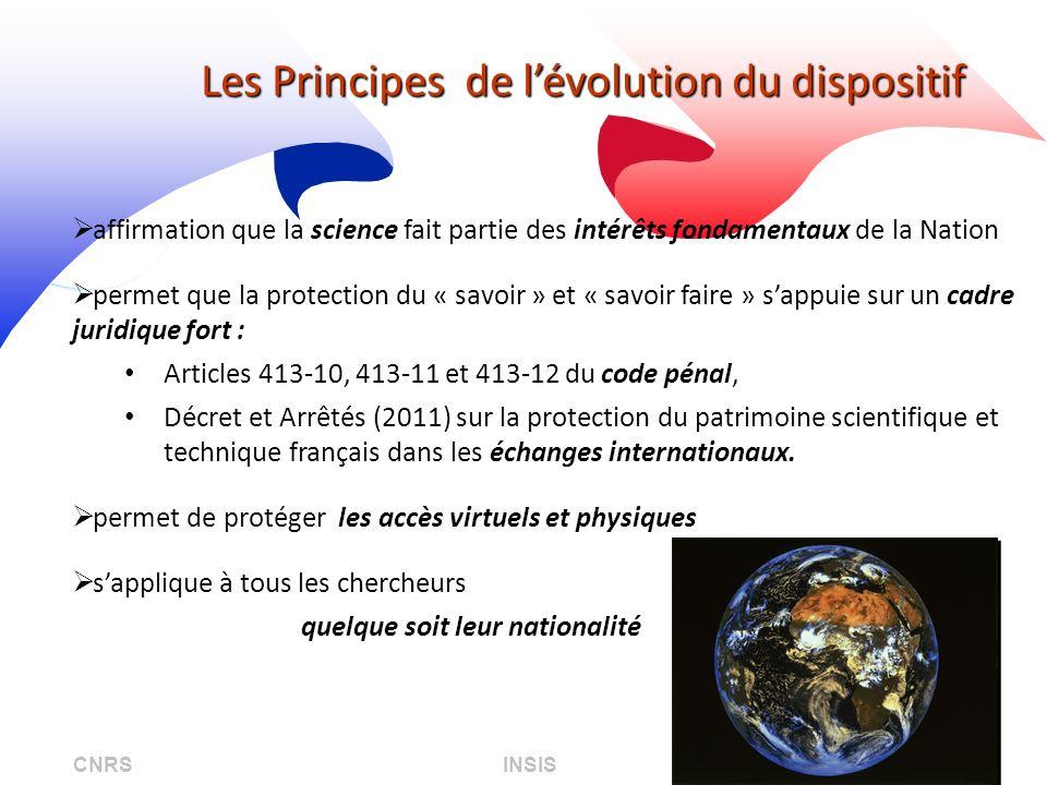 CNRS INSIS 08/04/2013 Les Principes de lévolution du dispositif affirmation que la science fait partie des intérêts fondamentaux de la Nation permet q