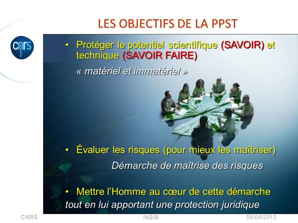 CNRS INSIS 08/04/2013 LES OBJECTIFS DE LA PPST Protéger le potentiel scientifique (SAVOIR) et technique (SAVOIR FAIRE)Protéger le potentiel scientifiq