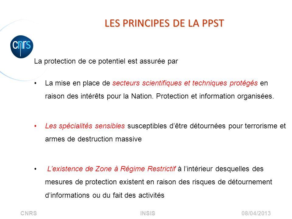 CNRS INSIS 08/04/2013 LES PRINCIPES DE LA PPST La protection de ce potentiel est assurée par La mise en place de secteurs scientifiques et techniques