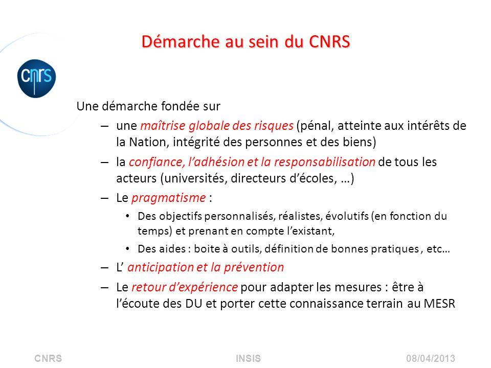 CNRS INSIS 08/04/2013 Démarche au sein du CNRS Une démarche fondée sur – une maîtrise globale des risques (pénal, atteinte aux intérêts de la Nation,