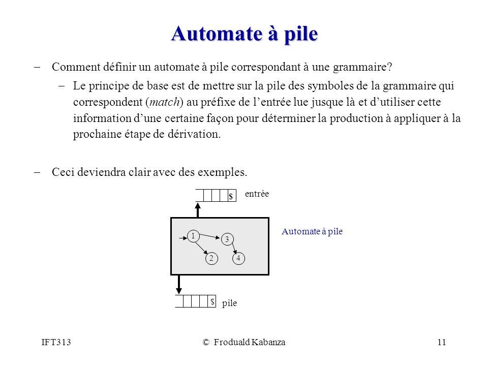 IFT313© Froduald Kabanza11 Automate à pile Comment définir un automate à pile correspondant à une grammaire? Le principe de base est de mettre sur la