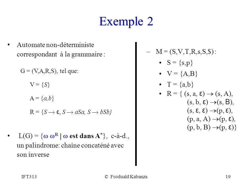 IFT313© Froduald Kabanza19 Exemple 2 M = (S,V,T,R,s,S,$) : S = {s,p} V = {A,B} T = {a,b} R = { (s, a, ε ) (s, A), (s, b, ε ) (s, B ), (s, ε, ε ) (p, ε