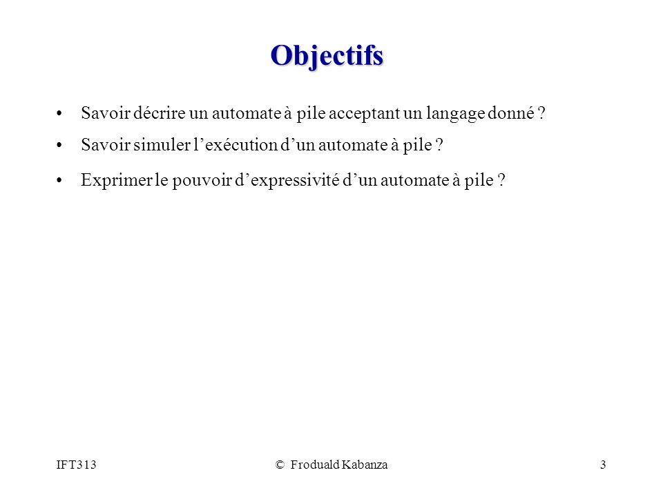 IFT313© Froduald Kabanza3 Objectifs Savoir décrire un automate à pile acceptant un langage donné ? Savoir simuler lexécution dun automate à pile ? Exp