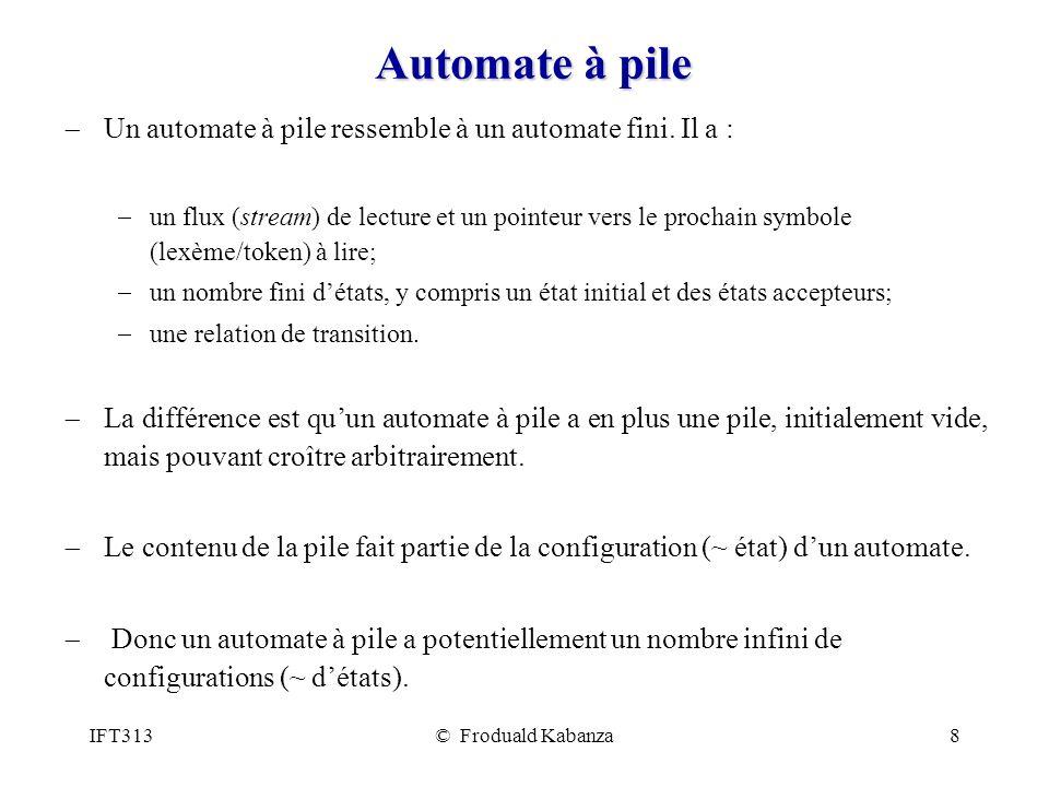 IFT313© Froduald Kabanza8 Automate à pile Un automate à pile ressemble à un automate fini. Il a : un flux (stream) de lecture et un pointeur vers le p